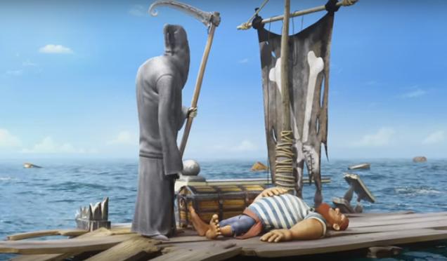 Забавный мультфильм про пирата и смерть.