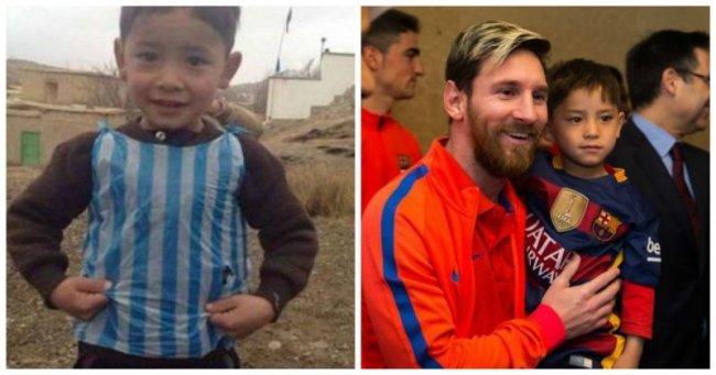 Афганский мальчик, прославившийся благодаря своей футболке Месси из полиэтиленового пакета, встретился со своим кумиром.