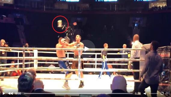 Взбешенные зрители нокаутировали ведром льда боксера, победившего их любимчика
