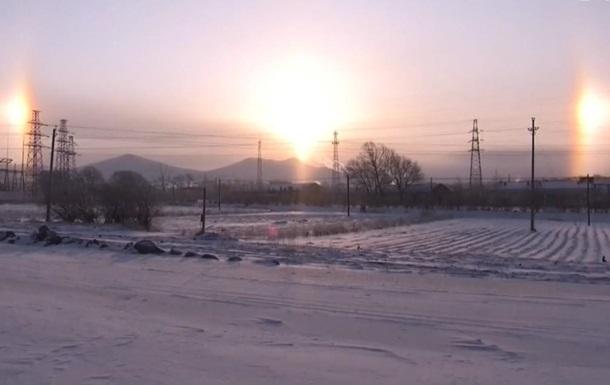 Над Китаем взошло три солнца