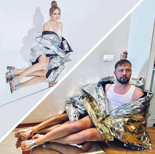 Бородатый пародист из России копирует наряды знаменитостей, используя всё, что оказалось под рукой